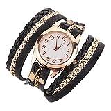Westeng Leather Weave Wrap Bracelet Watch Women Casual Quartz Watch Ladies Charming Wrist Watch