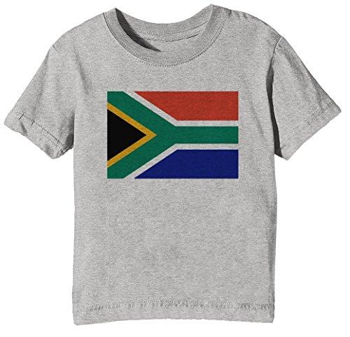 Süd Afrika National Flagge Kinder Unisex Jungen Mädchen T-Shirt Rundhals Grau Kurzarm Größe XL Kids Boys Girls Grey X-Large Size XL (T-shirt Süd-afrika Flagge)