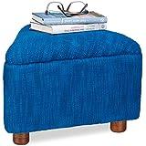 Relaxdays–Taburete azul acolchada de algodón triángulo 3pies reposapiés reposapiés tejida mano, azul