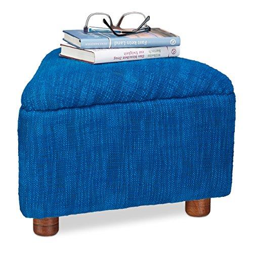 Relaxdays Fußhocker Gepolstert aus Baumwolle, Kleiner Hocker mit Polster f. Sofa, dreieckiger Pouf mit Holzbeine, Blau