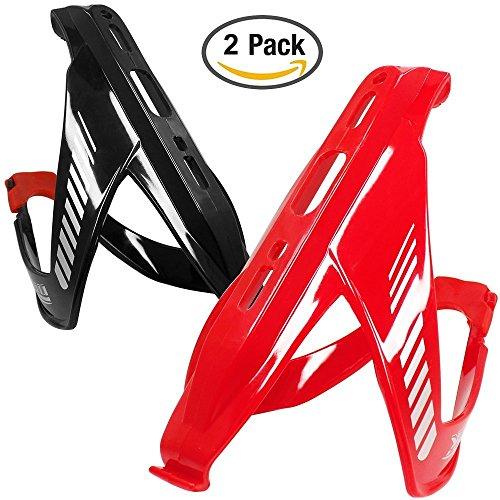 2 Portaborraccia pack Acqua, Wini leggero bere acqua della fibra di vetro supporto della gabbia della bottiglia per tutti i tipi di Bike-- Rosso e Nero