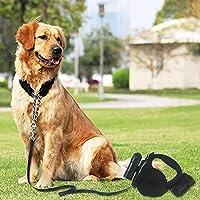 Wenquan,Correa retráctil de Cuerda de tracción para Mascotas de extensión 5m(Color:Negro)
