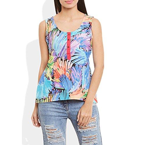 Damen Baumwolle Gedruckt Kurz Top Kurti Ärmel mit Kontrastleiste und Buttons, X-Large, W-CST38-3131 (3131 Top)