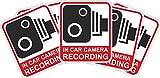INDIGOS UG - Aufkleber/Sticker - rot/schwarz - Warnung Sicherheit - Kamera Dash Cam Aufnahme Dashcam - 29x25 mm - 5 Stück - JDM/Die cut - CCTV, Auto, Van, Truck, Taxi, Bus