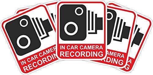 INDIGOS UG - Aufkleber/Sticker - rot/schwarz - Warnung Sicherheit - Kamera Dash Cam Aufnahme Dashcam - 60x51 mm - 10 Stück - JDM/Die cut - CCTV, Auto, Van, Truck, Taxi, Bus