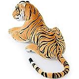 Plüschtier Tiger Plüsch liegend 136cm Stofftier Kuscheltier Stofftiger Riesig -