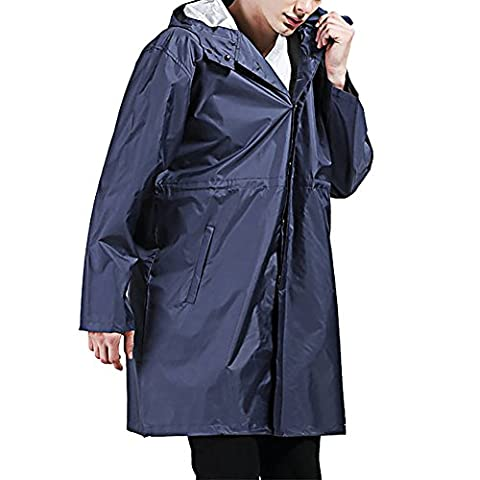 BoodTag Men's Lightweight Reversible Hooded Raincoat Jacket Parka Long Folding Cagoul (Blue)