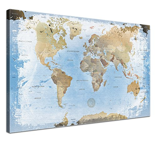 lanakk carte du monde imprim e sur toile avec ch ssis et tableau arri re en li ge bleu en 3. Black Bedroom Furniture Sets. Home Design Ideas