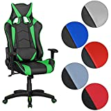 FineBuy GOAL - Gaming Chair mit Kunstleder   Schreibtisch-Stuhl in Leder-Optik   Design Racing Chefsessel mit Armlehne   Gamer Bürostuhl mit Racer Sport-Sitz und Kopfstütze   Drehstuhl in Race-Optik