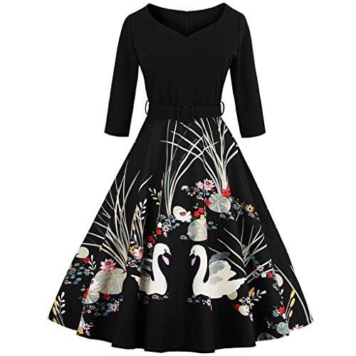 FAIRY COUPLE 50er Jahren Retro 3/4 Ärmel V-Ausschnitt A-Linie gedruckt dehnbar Kleid mit Gürtel DRT005(M,Schwarz) (3/4 Bh Ärmel)