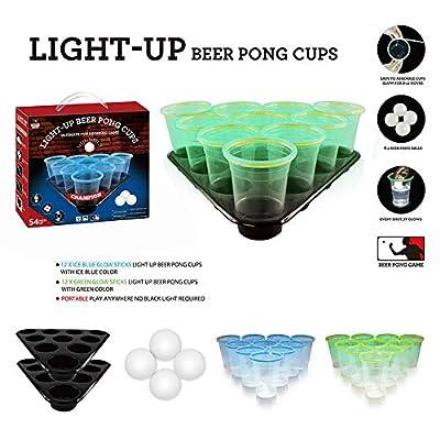 Party Drinking Game Jeux pour adultes avec bière-pong Jeu de bière et de ping-Pong décontracté Comprenant 4Balle de ping-Pong et 20 gobelets en Plastique réutilisables Couleur Verte et Bleue Beer pong