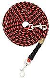 Hundeleine Balu aus Paracord, Führleine, Red and Black, Handgeflochten, Individuelle Länge, Mehrfach Verstellbar, 1.5 Zentimeter breit