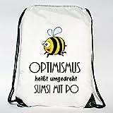 Wandtattoo-Loft Rucksack Turnbeutel Optimismus heißt umgedreht Sumsi mit Po mit Bienchen - Tasche mit Aufdruck