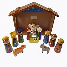 10.2cm Infantil Navidad Escena natividad juego adorno madera caseta Jesús 12 unidades