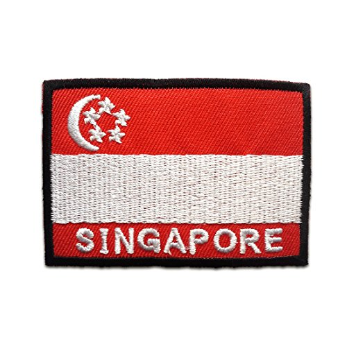 Aufnäher / Bügelbild - Singapur Flagge Fahne - rot - 4,8 x 7 cm - by catch-the-patch® Patch Aufbügler Applikationen zum aufbügeln Applikation Patches Flicken