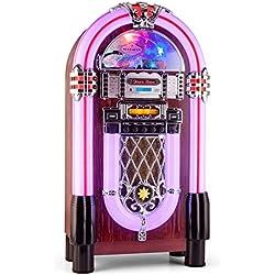 auna Graceland XXL BT Jukebox Bluetooth vintage (USB, SD, AUX, reproductor CD compatible con MP3, radio FM AM, iluminación LED, decoración madera, estilo diseño años 50)