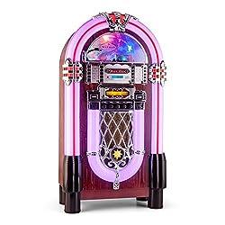 AUNA Graceland XXL BT - Jukebox, Retro Musikbox, Bluetooth, MP3-fähiger CD-Player, USB-Port, SD-Karten Slot, AUX-Eingang, UKW Radio, 2-Band Equalizer, LED-Beleuchtung, violett