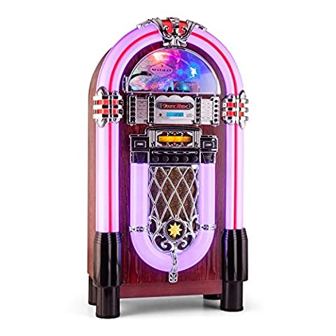 auna Graceland-XXL Jukebox Musikbox (USB-Port, SD-Slot, MP3-fähig, Bluetooth, AUX-Eingang, CD-Player, UKW/MW-Tuner)