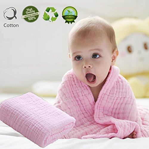Musselin Babybadetuch, Morbuy Niedlich 110 cm x 110 cm Weich und Gemütlich Neugeboren 100% Baumwolle 6 Schichten Muslin Absorbent Baby Badetuch Babydecke (Rosa)