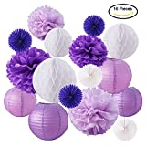 BENECREAT 16 Piezas Purple White Theme Paper Pom Poms Flores de papel Linternas de papel Honeycomb Balls Tissue Fans - Perfecto para la decoracion de la boda, celebracion de cumpleaNos, decoracion de mesa y pared