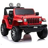 Babycar Jeep ® Wrangler Rubicon 2 Posti 12 Volt con Sedile in Pelle Macchina Elettrica Jeep per Bambini Porte apribili con Te