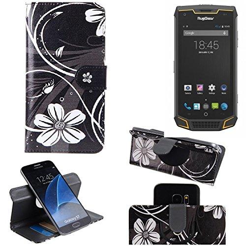 K-S-Trade Schutzhülle für Ruggear RG740 Hülle 360° Wallet Case Schutz Hülle ''Flowers'' Smartphone Flip Cover Flipstyle Tasche Handyhülle schwarz-weiß 1x