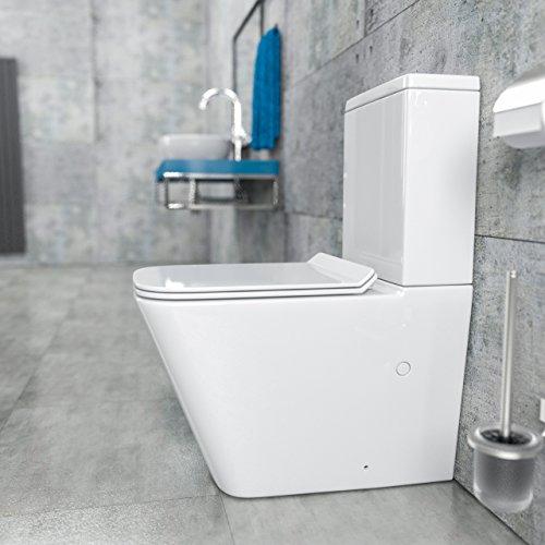 KeraBad Randlose Stand-WC Kombination mit Spülkasten WC-Sitz aus Duroplast mit Absenkautomatik SoftClose-Funktion für waagerechten und senkrechten Abgang Wasseranschluss rechts am Spülkasten Spülrandlos KB6003-R