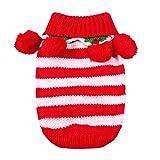 Hillento Traje de Punto de suéter de Navidad Mascota con Cuello y Bolas para el Invierno para el Gato Perrito pequeño Perro, Rojo y Blanco