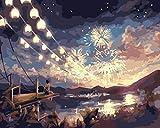 ZSJPE Dipingere con i Numeri Ragazza Che Guarda i fuochi d'artificio Pittura ad Olio Fai da Te Tela per Pittura a Olio Regalo per Adulti e Bambini Decorazioni per la casa 40 x 50cm (Senza Telaio)