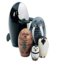 """Bits and Pieces - """"Whale of a Good Time - Matryoshka Dolls - Wooden Russian Nesting Dolls - Sea Life Animal Figurines - Stacking Dolls Set of 5"""