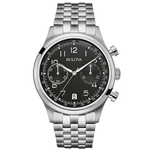Bulova Classic Vintage 96B234 - Herren Designer-Armbanduhr - Chronograph mit Armband aus Edelstahl - schwarzes Zifferblatt (Bulova Schwarz Uhren Für Männer)