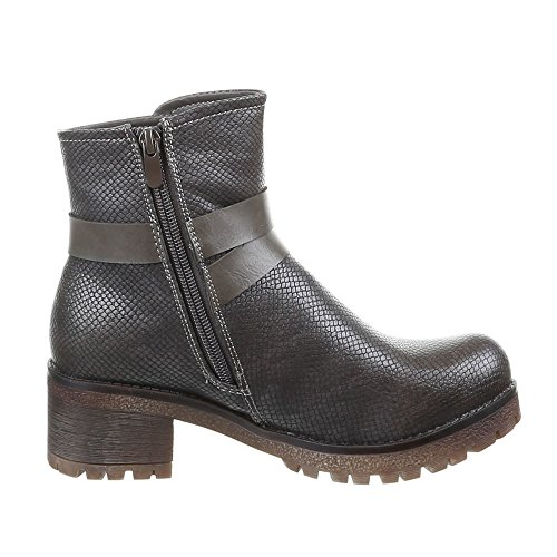Damen Schuhe, 338-PA, STIEFELETTEN Grau Braun