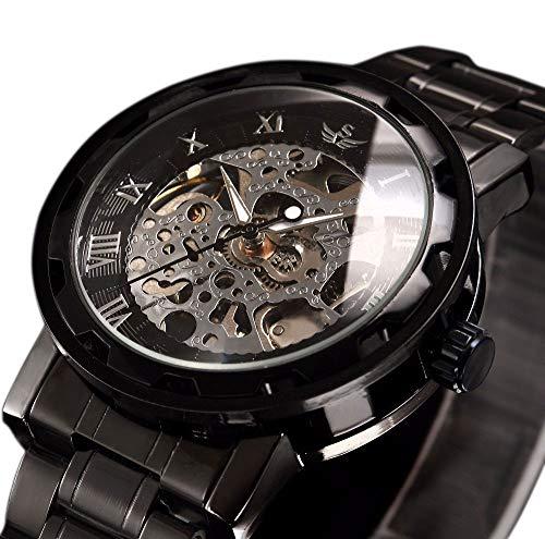 Relojes para hombre Esqueleto mecánico Relojes de pulsera de lujo Reloj analógico clásico con pulsera de eslabones Mano-Viento Movimiento Reloj automático