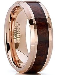 Metal Masters Co. 8mm Bague de mariage en tungstène rose avec incruste du bois. Anneaux de fiancailles en tungstène pour homme intérieur Confort