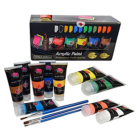 Acrylic Paint Studio Paints Set 12 Extra Large 75 ml(2.5 oz)Professional Grade Painting Kit For Canvas, Wood, Clay, Fabric, Nail Art, Ceramic & Crafts.Students & Professionals Crafts 4