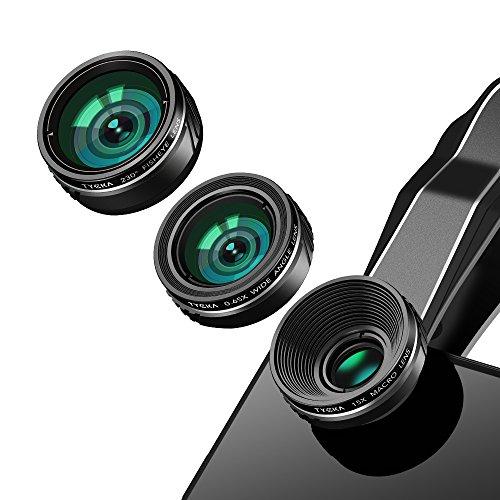 TYCKA. Conjunto de lentes para la cámara del teléfono móvil , lente ojo de pez 230° + lente gran angular 0.65X + lente macro 15X, conjunto, 3 en 1, de lentes acoplables para el teléfono con funda para