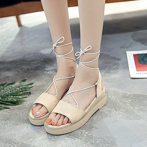 RUGAI-UE Estate sandali donne Bflat scarpe scarpe Apricot