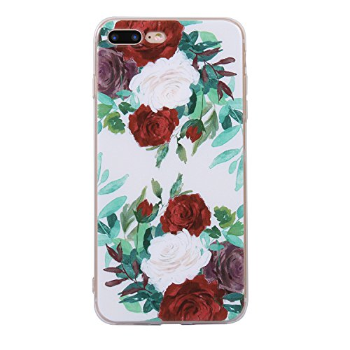iphone 7 Plus Handyhülle,iphone 7 Plus Silikon Hülle,Cozy Hut 3D Handyhülle Muster Case Cover Für iphone 7 Plus Liquid Crystal Ultra Dünn Crystal Clear Transparent Handyhülle Soft Cover Premium Anti-S Rote und weiße Rose