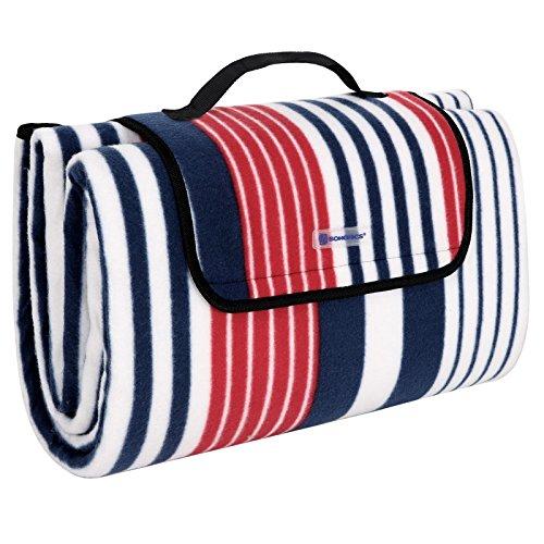 SONGMICS 200 x 200 cm XXL Picknickdecke Fleece wärmeisoliert wasserdicht mit Tragegriff GCM70R