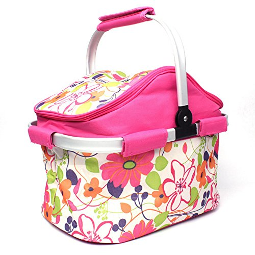 zhbotaolang Isoliert Faltung Picknickkorb Große Reise Camping Lunch Bag mit Tragegriff 20L (Rosa)