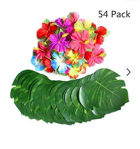 Poetryer 54 Stück Tropische Blätter, Künstlich Blätter und Hibiskus Blumen, Hawaii Palmenblätter Dschungel Strand Thema Party Hochzeit Dekorationen Tischdekoration