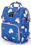 Wickeltasche, große Kapazität Baby Windel Rucksack,Multi-Funktions-Reise-Rucksack-Windel-Taschen,Pflegetasche, Mode-Mumie, Geräumige Wasserdicht für Baby Care, Stilvolle und Langlebig durch Aspen Sport(Blau)