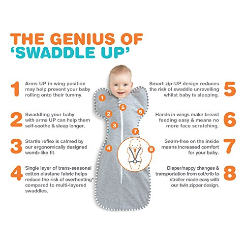 Love to Dream Swaddle Up LTD101001GRS Wrap-Around Sleeping Bag for 3 to 6 kg Grey
