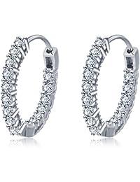 88f4d788a Jösva Women's Hoop Earrings 925 Sterling Silver Round Hoops Creole Ear  Rings Diameter 19mm Huggie Hinged