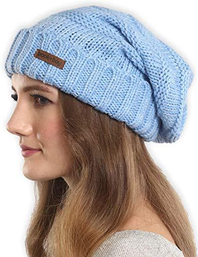 Brook + Bay Slouchy Kabel Knit Cuff Beanie-Stay Warm und stilvoll-geschoben, übergroße Slouch Beanie Hüte für Damen & Herren-Serious Beanies für Serious Stil, Damen, Ocean Breeze, OSFM Knit Slouch Hut