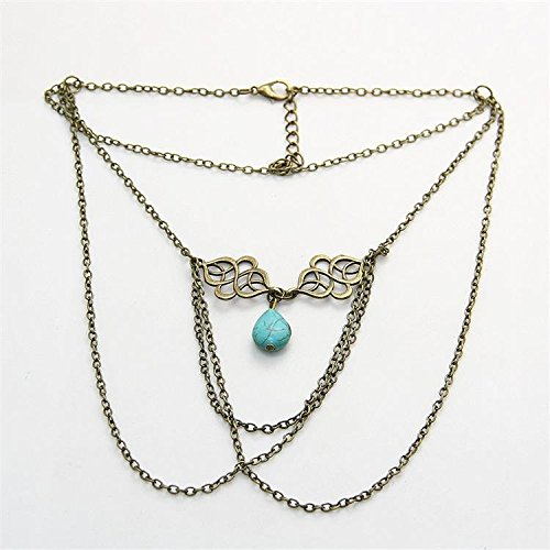 SwirlColor Bohemian Women Upper Arm Bracelet Vintage Fringed Turquoise Drop Arm Chain  with Free Organza Gift Pouch