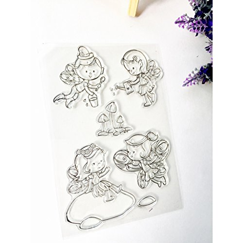 Kimyu Engel-Muste Gummi durchsichtiger Transparent Stempel DIY Collage Album Decor