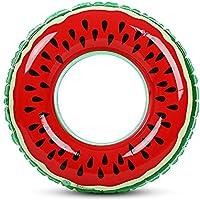 Zhuhaimei,Wassermelone aufblasbare Schwimmring Pool Float für Erwachsene Kinder(Color:ROT,Size:Durchmesser 90 cm)