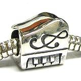 Queenberry argent Sterling Motif clavier de Piano :  Instrument de musique et clé de sol-Note de musique pour Bracelets de type Pandora, Troll, Chamilia et Biagi Bracelets européens