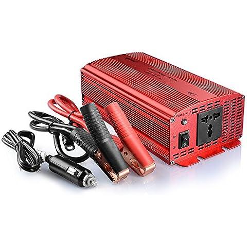 BESTEK Inversor de Corriente 1000W 12V a 220V para Coche con 1 Enchufe Universal y Pinzas de Cocodrillo - Onda